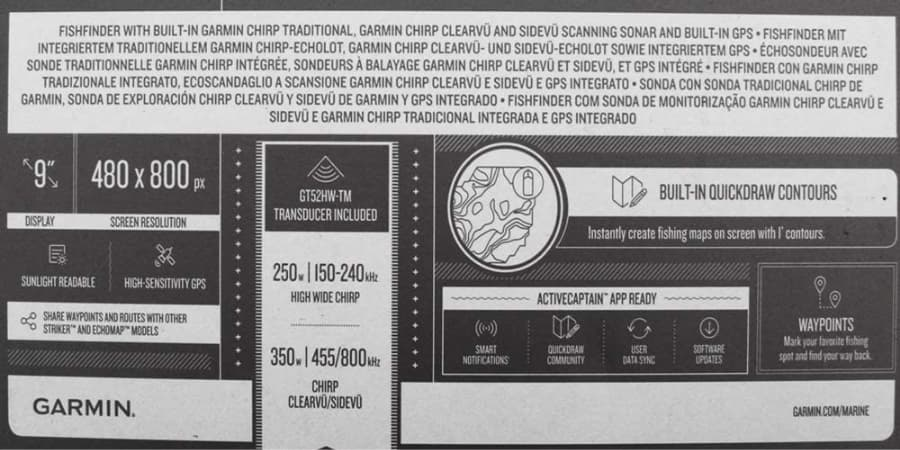 Características de la sonda Garmin Striker Plus 9sv